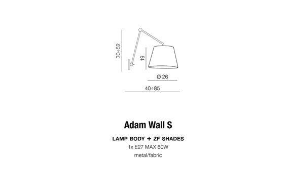 Azzardo Adam S Kinkiet szary AZ1843+AZ2601
