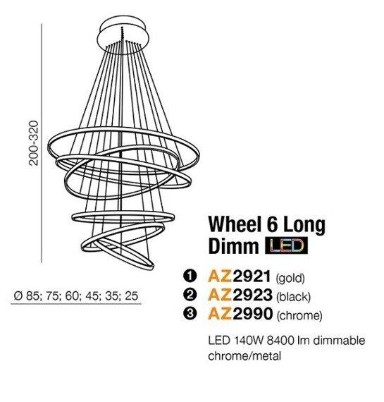 Azzardo Wheel 6 Lampa wisząca złota