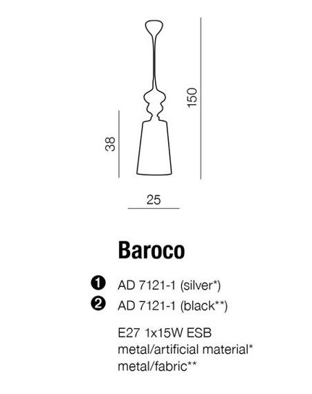 BAROCO AD 7121-1 Black Lampa Wisząca AZZARDO