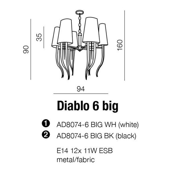 Diablo 3 Big  AD8074-6 BIG Czarna Lampa Wisząca
