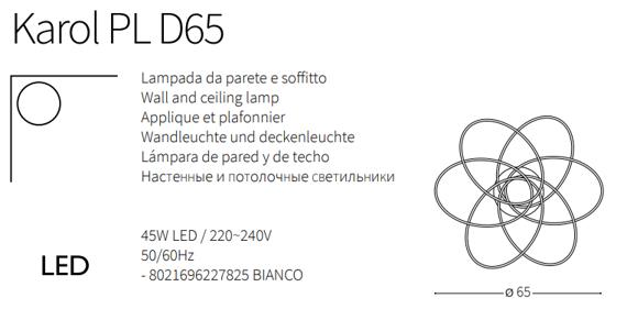 Ideal Lux Karol PL D65 Plafoniera nowoczesna LED w kolorze biały