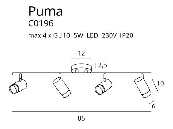 Lampa Sufitowa Czarny MaxLight Puma C0196 Podłużny Plafon