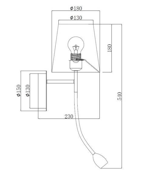 Lampa ścienna Dann Lux Design FIO BK-W DLD5293