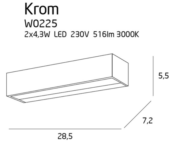 Lampa ścienna MaxLight Krom W0225
