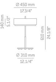 Lampka Stołowa Estiluz Iris T-2717 biało/niklowa