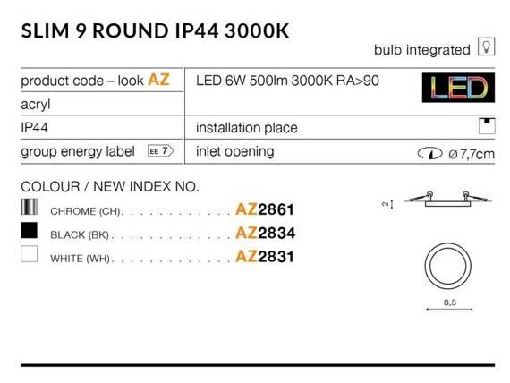 Oprawa Do Zabudowy Azzardo Slim 9 Round AZ2835 Czarna 4000K