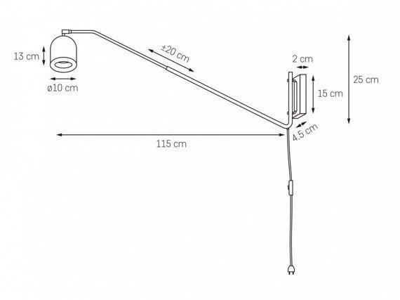 Oprawa ścienna na wysięgniku z przewodem i wyłącznikiem Kaspa Puro 20814102