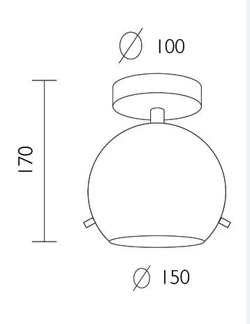 Plafon szklana czarna kula SOTTO LUCE MYOO CP 1/C