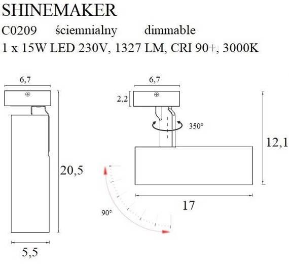 Reflektor Biały MaxLight Shinemaker C0209 Ściemniany