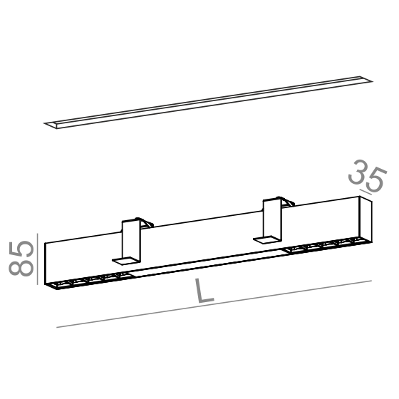 Wpust AQForm Rafter section 133 cm biały