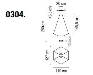 Zwis Wireflow 0304-04 Vibia czarna 110 x 127 cm