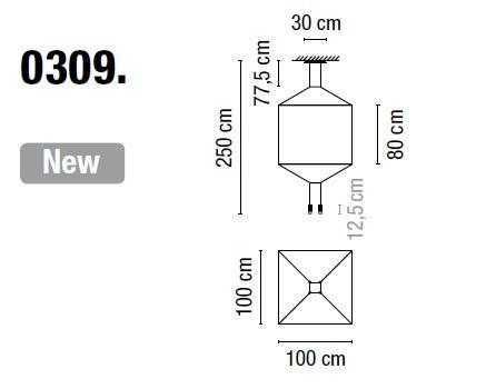 Zwis Wireflow 0309-04 Vibia czarna 100 cm