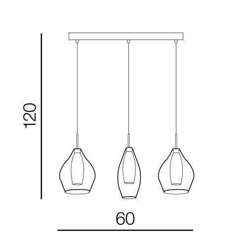 Zwis szklany potrójny Azzardo Amber Milano AZ3075