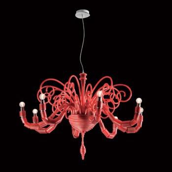 Żyrandol Facon de Venice MERIPIRS 8L red