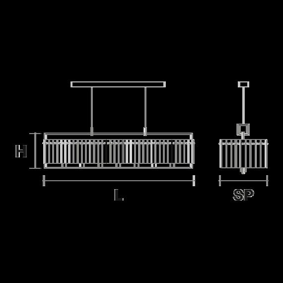 Żyrandol Masiero Crek S14 mosiądz
